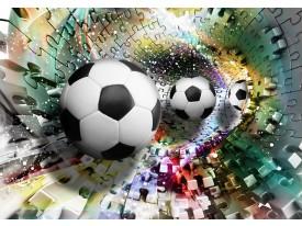Fotobehang Voetbal | Turquoise, Geel | 416x254