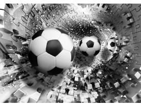 Fotobehang Papier Voetbal   Zwart, Wit   254x184cm