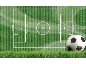 Fotobehang Vlies   Voetbal   Groen, Wit   368x254cm (bxh)
