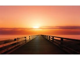 Fotobehang Vlies | Brug, Zee | Oranje | 368x254cm (bxh)
