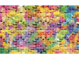 Fotobehang Vlies | Stenen, Muur | Geel, Blauw | 368x254cm (bxh)