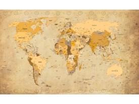 Fotobehang Vlies | Wereldkaart | Bruin, Geel | 368x254cm (bxh)