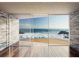 Fotobehang Vlies | Diepte, Strand | Blauw | 368x254cm (bxh)