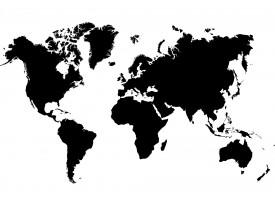 Fotobehang Vlies | Wereldkaart | Zwart, Wit | 368x254cm (bxh)