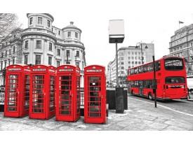Fotobehang Vlies | London | Rood, Grijs | 368x254cm (bxh)
