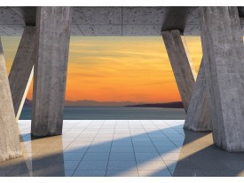 Fotobehang Vlies | Diepte, Hout | Oranje | 368x254cm (bxh)