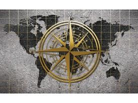 Fotobehang Vlies   Wereldkaart   Grijs, Geel   368x254cm (bxh)