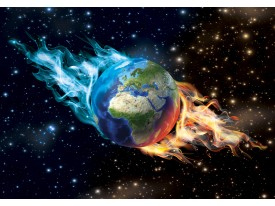 Fotobehang Vlies | Wereldbol | Bruin, Blauw | 368x254cm (bxh)
