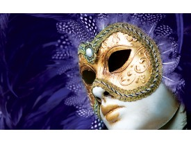 Fotobehang Papier Masker | Paars, Goud | 254x184cm