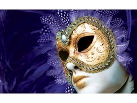 Fotobehang Masker | Paars, Goud | 312x219cm
