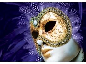 Fotobehang Vlies | Masker | Paars, Goud | 368x254cm (bxh)