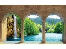Fotobehang Natuur, Waterval | Groen, Crème | 416x254