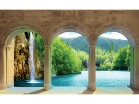 Fotobehang Vlies | Natuur, Waterval | Groen, Crème | 368x254cm (bxh)