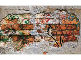 Fotobehang Papier Graffiti | Oranje | 368x254cm