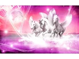 Fotobehang Papier Paarden | Roze | 254x184cm