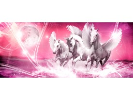 Fotobehang Paarden | Roze | 250x104cm