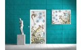 Deursticker Muursticker Bloemen | Blauw | 91x211cm