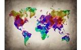 Fotobehang Vlies   Wereldkaart   Paars, Geel   368x254cm (bxh)