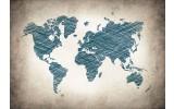 Fotobehang Vlies   Wereldkaart   Blauw   368x254cm (bxh)