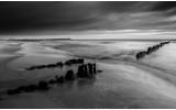 Fotobehang Vlies | Strand, Zee | Grijs, Zwart | 368x254cm (bxh)