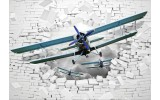 Fotobehang Vlies | 3D, Vliegtuig | Wit | 368x254cm (bxh)