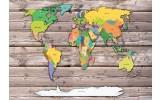 Fotobehang Vlies | Wereldkaart | Geel, Grijs | 368x254cm (bxh)