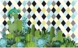Fotobehang Vlies   Cactus   Blauw, Groen   368x254cm (bxh)