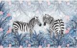 Fotobehang Vlies | Zebra, Modern | Blauw, Grijs | 368x254cm (bxh)