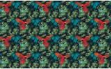Fotobehang Vlies | Papegaai | Groen, Blauw | 368x254cm (bxh)