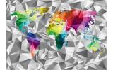 Fotobehang Vlies | Wereldkaart, 3D | Grijs | 368x254cm (bxh)