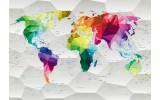 Fotobehang Vlies | Wereldkaart, Kleurrijk | Wit | 368x254cm (bxh)