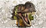 Fotobehang Vlies | 3D, Dinosaurus | Bruin, Wit | 368x254cm (bxh)