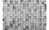 Fotobehang Vlies | 3D, Muur | Grijs | 368x254cm (bxh)