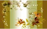 Fotobehang Vlies   Bloemen   Groen, Bruin   368x254cm (bxh)
