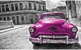 Fotobehang Vlies   Oldtimer, Auto   Roze, Grijs   368x254cm (bxh)
