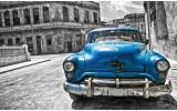 Fotobehang Vlies | Oldtimer, Auto | Blauw, Grijs | 368x254cm (bxh)
