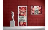 Deursticker Muursticker Bloemen | Rood, Grijs | 91x211cm