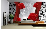 Fotobehang Bloemen, Roos | Grijs, Rood | 104x70,5cm