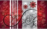 Fotobehang Bloemen | Grijs, Rood | 104x70,5cm