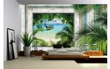 Fotobehang Strand | Groen, Grijs | 152,5x104cm