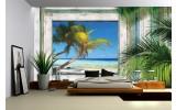 Fotobehang Strand | Groen, Grijs | 208x146cm