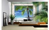 Fotobehang Strand | Groen, Grijs | 104x70,5cm