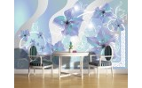 Fotobehang Papier Bloemen | Grijs, Blauw | 254x184cm