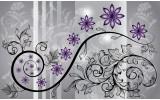 Fotobehang Bloemen | Paars, Grijs | 152,5x104cm
