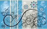 Fotobehang Papier Bloemen | Blauw, Grijs | 254x184cm