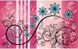Fotobehang Vlies | Bloemen | Roze, Blauw | 368x254cm (bxh)