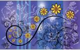 Fotobehang Bloemen | Blauw, Paars | 104x70,5cm