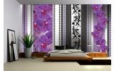 Fotobehang Bloemen, Orchidee | Paars, Grijs | 416x254