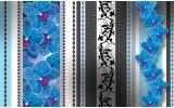 Fotobehang Papier Bloemen, Orchidee | Blauw, Grijs | 254x184cm