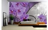 Fotobehang Bloemen, Orchidee | Paars, Grijs | 152,5x104cm
